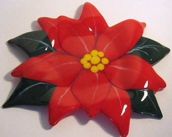 Festive Fused Glass Poinsettia Flower Shallow Decorative Dish Holiday Display