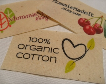 Organic Cotton Fabric Labels - Sew-On OR Iron-On - Free Customization Using Any Premade Design Shown