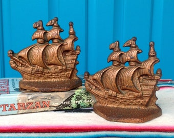 FREE SHIPPING-Vintage Brass/Bronze Clipper Ship Bookends-Brass Pirate Ship Bookends-Nautical-Maritime-Coastal-Tropical-Mid Century