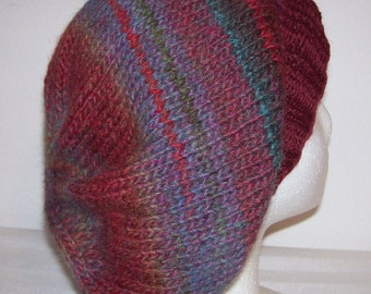 Wool/Acrylic Slouch Hat - Slouchy Knit Beanie - Knitted Dreadlock Beanie - Hipster Toque - Hand Knit Hat