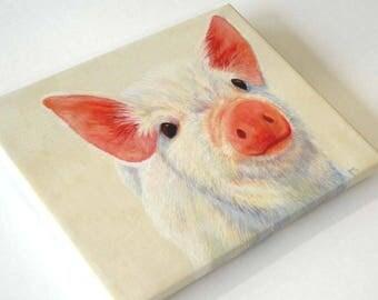 Baby Pig Art, Canvas Pig Print, Nursery Decor, Kids Decor, Kitchen Decor