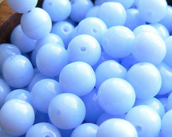 Opaque Cornflower Blue Czech Glass Beads Round Druk Periwinkle 6mm (30)