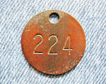 Miners Brass Tag Number 224 Antique Coal Mining Tool Id Check Numbered Fob Keychain Token Rustic Relic for Repurpose