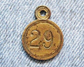 Brass Number Tag Room 29 Skeleton Key Fob Antique Retro Motel Hotel Industrial Metal Painted Numbered Id Repurpose Jewelry Hardware