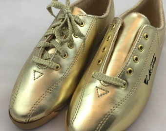Vintage Gold LA Gear Sneakers - Size 5.5 Shoes - Vintage Womens Shoes - Metallic Sneakers