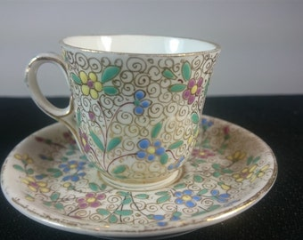 Vintage Miniature Hand Painted Floral Ceramic Porcelain Espresso Coffee or Tea Cup and Saucer Set 1940's - 1950's