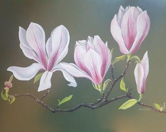 Vintage Magnolia Tree Flower Blossoms Original Gouache Painting
