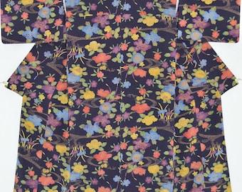 Chrysanthemums, Camellia, Tree Peony and Iris, on Midnight Purple Silk Kimono: Vintage Japanese