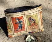 "7"" Zippered Day of the Dead Cotton Print Pouch, Coin Bag, Skeleton Lotteria Print Cosmetic Case, i phone Case"