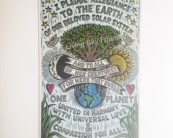 Earth Allegiance Pledge Poster, Nature Woodcut Print Poster, Living Sky Foundation, Love, Unity, Environmental Art, Compassion