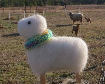 Needle Felted Sheep, White Felted Sheep, Clothes Pin Sheep