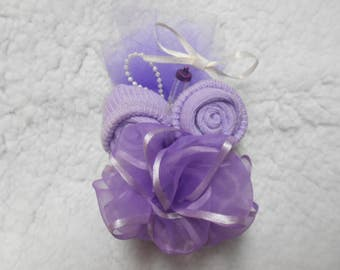 Baby Shower Corsage Hand Made Purple or Any Color or will custom make For Girl or Boy Baby