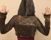 RESERVED Organic patchwork hoodie hand dyed bamboo