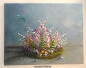 Fairy Crown painting fantasy still life large original ooak art Roses violets berries moss