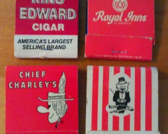 Vintage Red & White Matchbook Lot of 4 Vintage Matchbooks  Free Shipping