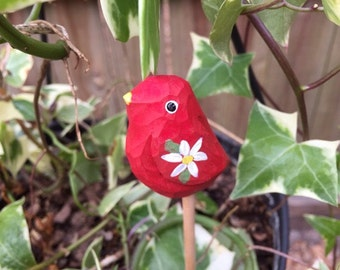Wood Carved Bird Plant Stake, Carved Red Bird Plant Decoration, Flower Garden Art