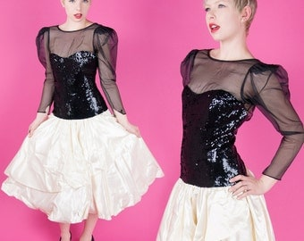CASADEI Vintage 1982 Black Sequin Sheer Mesh White Taffetta Party Prom 80s Holiday Dress XS/S