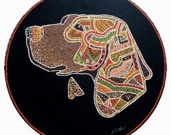 "Beagle hound dog Acrylic 12"" round on black canvas board. Orange black brown white tan purple green red blue pink"