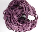 Sari silk ribbon, Recycled Silk Sari Ribbon, Aubergine sari ribbon skein, eggplant sari ribbon, knitting supply, weaving supply, rug supply
