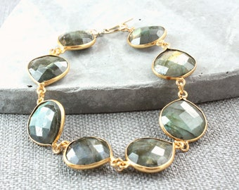 Labradorite Gold  Bracelet   Gemstone Jewelry  Bezel Bracelet  Made For Her