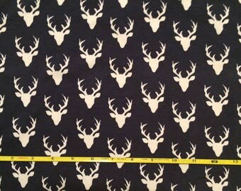 NEW Art Gallery Buck Forest MINI Bucks on Twilight cotton Lycra  knit fabric 1 yard.