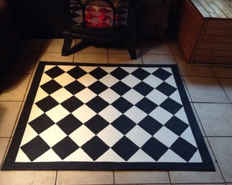 "Floorcloth / READY TO SHIP!/  39""x47"" black and white Diamond floorcloth"
