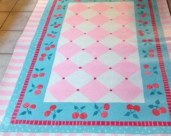 FLOORCLOTH  /  Country Cottage Chic / 4'x6' / CHERRIES / Pink and Turquoise / Mid-Century Kitsch