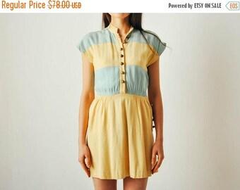 ON SALE Vintage Wide Striped Mini Dress
