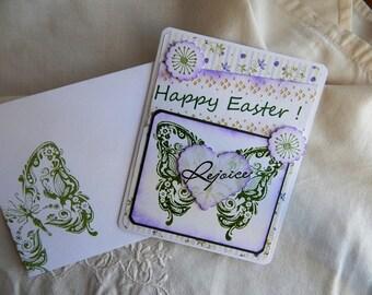 Handmade Easter Card: handmade, christian, balsampondsdesign,butterfly, complete inside, complete outside, purple, greeting cards, card