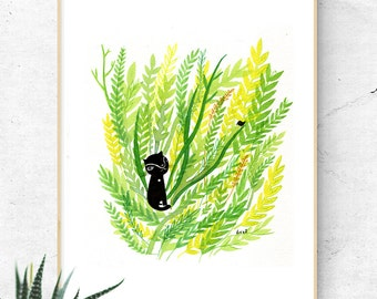 Cat Illustration, Black Cat Print, Cat Artwork, Plant Prints, I Like Cats Wall Art, Cat Nursery Decor