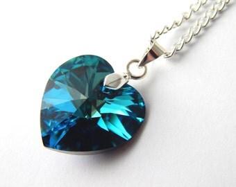 Blue Crystal Swarovski Heart Necklace - Bermuda Blue Crystal Necklace - Swarovski Elements - Turquoise Teal Crystal Heart Necklace