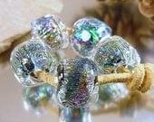 Handmade lampwork glass beads, Artisan glass beads, blue beads, purple beads, pink beads, green beads, dichroic glass beads, SRA lampwork