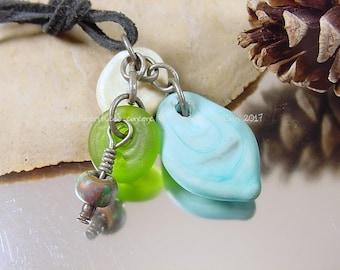 Handmade lampwork glass bead pendant, Artisan glass beads, blue beads, green beads, ivory beads, focal bead, pendant, matte glass beads, SRA