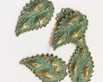 Bulk 30 pcs of Antique Brass long leaf pendant 16x27mm, bluing leaf pendant, Verdigris Patina