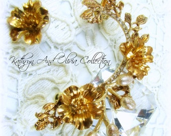 Gold Flower & Pearl Bridal Ear Cuff With Coordinated Flower Post Earring