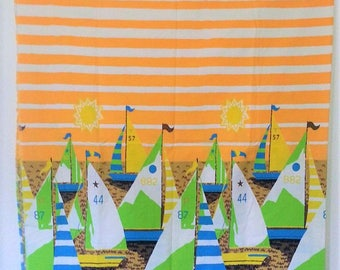 Vintage Sailboat Fabric Yardage Summer Striped