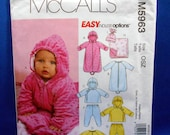 McCalls M5963, sewing pattern for babies, infants buntings and jacket, jumpsuits, pants, blanket and hat