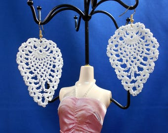 Crochet pineapple earrings, white lace