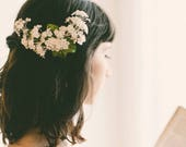 White baby's breath flower clip, Floral bridal clip, Unique wedding hair accessory, Updo side bun back clip, WG08