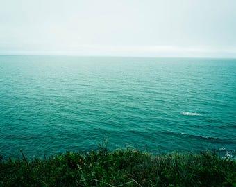 Ocean Photograph - Seascape - Aqua Turquoise - Minimalist Art - Sea - Nature Photography - Canada - Nova Scotia - Waves - Blue Wall Art