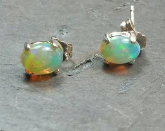 Opal Earrings, Sterling Flash Opal Earrings, Opal Earring Studs, Set 3, Ethiopian Welo Opal Earrings, Opal Post Earring Maggie McMane Design