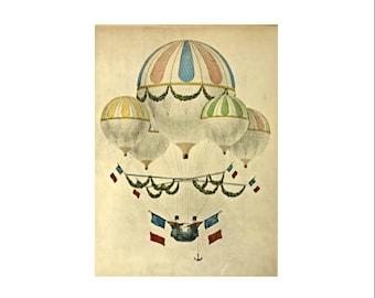 Printable Art, Print for Nursery, Pastel Hot Air Balloon, Vintage Travel Print, Printable Print, Pastel Nursery, Print it Yourself, PDF Art