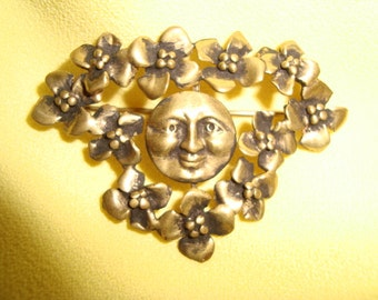 70's Brass Moon & Flower Brooch