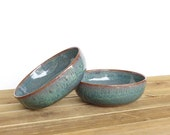 Rustic Pottery Soup Bowls in Sea Mist Glaze, Stoneware Ceramic Bowls, Set of 2
