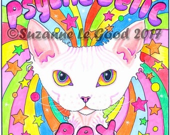 DEVON REX CAT Psychedelic painting by Suzanne Le Good