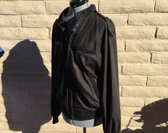 Vintage Members Only 80s Racer Windbreaker Black Jacket Sz 44L