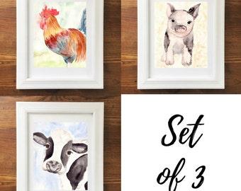Farm Animal Art. Animal Art Prints. Watercolor Animals. Set of 3. Nursery Art. Home Decor. Pig Art. 8x10 Print. Ready to Frame. Wall Art