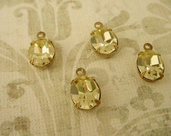 4 Vintage  jonquil Swarovski yellow Faceted Oval Glass Stone Charms 10x8 1 Ring brass ox setting