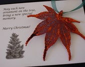 Copper Maple Leaf Ornament, Real Leaf Japanese Maple, Maple Leaf Extra Large, Ornament Gift, Christmas Card, ORNA28