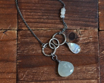 Aquamarine Necklace - Rainbow Moonstone Necklace - Oxidized Sterling Silver Link Necklace - Rustic Hammerd Link Necklace